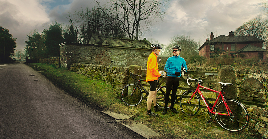 Cyclists Stood By Gate