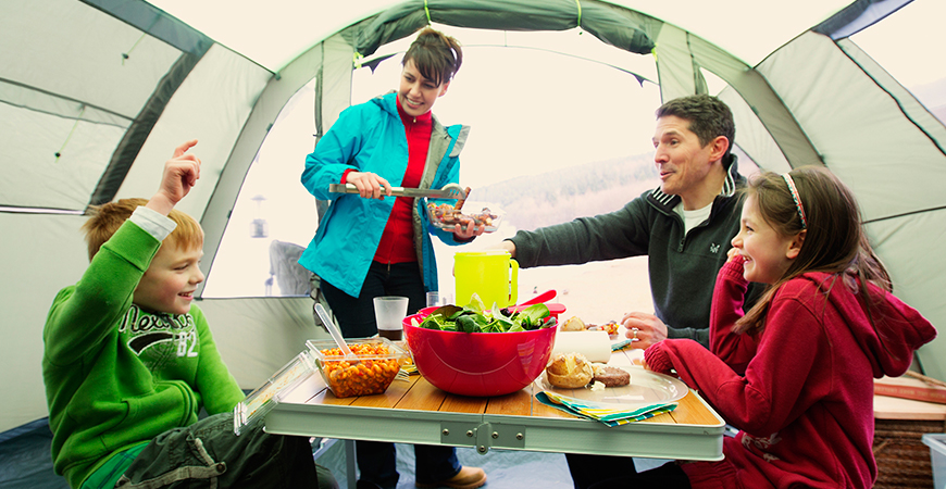 Camping Dining Inside Tent